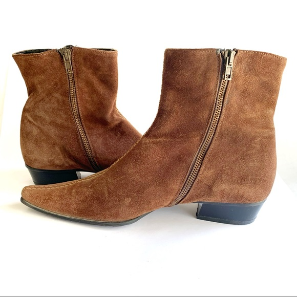 Brown Suede Zip up Ankle Booties size 37
